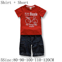 Wholesale summer Piece Boys outfit Sets Baby Shirt top Jean short baby red bike t shirts amp pants pc