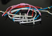 Wholesale cystal cross charm bracelet colors mix wax cord braid shamballa style bracelets for girl mix color