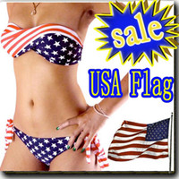 bandeau bikini sale - YY9 ON SALE swimsuit swimwear Women Sexy bikini STARS STRIPES USA Flag PADDED TWISTED BANDEAU swim suit tube swim wear