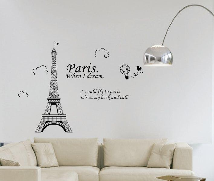 Fashion Paris Eiffel Tower Love Cartoon Kids Decor Removable Vinyl Art Wall Stickers Diy 3d