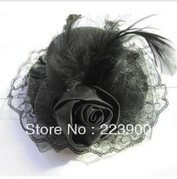 Wholesale Hot Sale Black Fur Flower Lace Bridal Wedding Hat Accessories