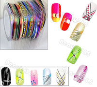 Wholesale 50 Mix Color Rolls Striping Tape Metallic Yarn Line Nail Art Decoration Sticker