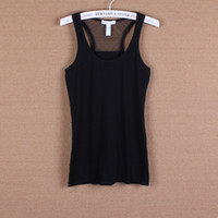 Wholesale Single spring and summer women s lace yarn net black slim small vest t shirt basic shirt