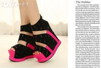 Wholesale 2013sexy lady wedge platform high heels sandals shoes