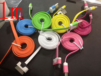 Wholesale CN New Arrival colorful flat noodle usb sync charger data cable for iphone g s for ipad
