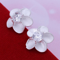 Wholesale new fashion silver charm Beautiful Austrain crystal Rose flower stud earring jewelry Special Christmas gifts