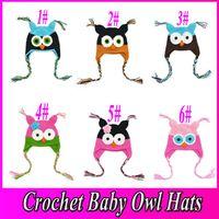 Wholesale Owl Crochet Hats EarFlap Crochet Baby Hats Multi Colors Handmade OWL Beanie Knitted Hat MZ042