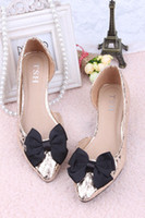 Wholesale Tsh viv sweet u s foot fairy color block pointed toe bow in with the single shoes plus size