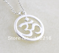 Wholesale a fashion silver plated Om Sanskrit Yoga pendant necklaces jewelry