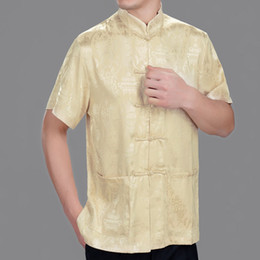 Wholesale new man yellow Tang suit real silk short sleeve blouse chinese Leisure style summer wear