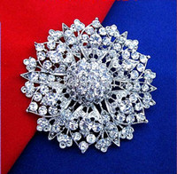 Wholesale 2 Inch Silver Plated Zinc Alloy Clear Rhinestone Crystal Large Flower Vintage Style Brooch