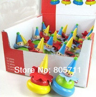 Wholesale High Quality Wooden Toys Mini Spinning Top The Clown Thumb Peg top Baby Toys