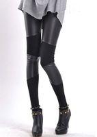 Skinny,Slim Capris Women Hot Selling Capris Black Imitation leather Cotton Patchwork Leggings Fashion For women Drop Ship