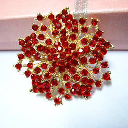 2.2 Inch Gold Plated Red Rhinestone Crystal Diamante Flower Brooch