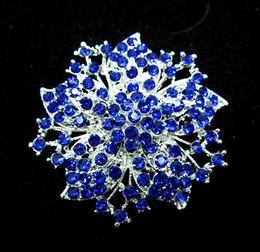 2.2 Inch silver Plated Royal blue Rhinestone Crystal Diamante Flower Brooch