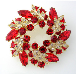 2 Inch Gold Plated Red Rhinestone Crystal Wreath Flower Brooch