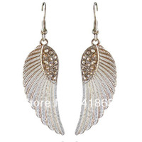 Wholesale 2013 new fashion angel wings c33 earrings Rhinestone jewel silver earring crystals rihanna jewelry