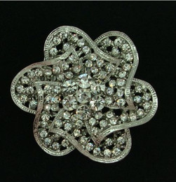 2 Inch RHODIUM SILVER PLATED CLEAR RHINESTONE CRYSTAL DIAMANTE VINTAGE FLOWER BROOCH for WEDDING AND PARTY