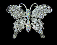 beautiful tone - Beautiful Silver Tone Clear and Clear AB Crystal Large Size Butterfly Brooch