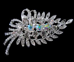 Silver plated Clear Rhinestone Crystal Bunch Leaf Flower Brooch
