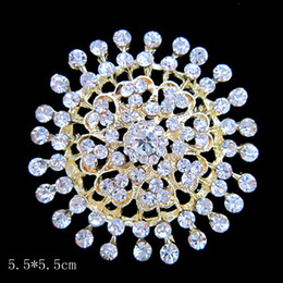 Large Size Gold Plated Clear Rhinestone Crystal Heart Round Brooch