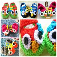 15 pares / lote Shoes Crochet coruja do bebê de crochê tricô mão do bebê sapatos booties malha 0-1T suave
