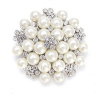 Wholesale Silver Tone CREAM Ivory Faux Pearl and Rhinestone Crystal Large Bridal Brooch
