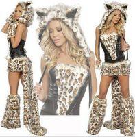 animal fancy dress women - 2013 Sexy Frisky Leopard Woman Cat Halloween Fancy Dress Costume Cosplay Animal Costumes