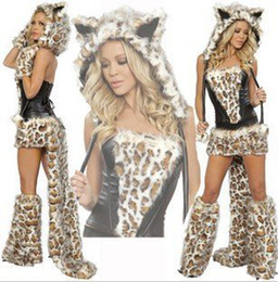 Wholesale 2013 Sexy Frisky Leopard Woman Cat Halloween Fancy Dress Costume Cosplay Animal Costumes