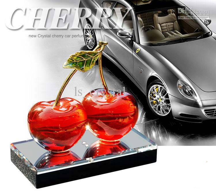 lovely red cherry crystal car perfume bottle fragrance deodorant diffuser holder base scented. Black Bedroom Furniture Sets. Home Design Ideas