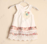 Wholesale Cute Babies Skirt - White Dresses Fashion Princess Dress With Flower Jumper Skirt Children Wear Girls Cute Printed Lace Dresses Baby Summer Dress Tiered Dresses
