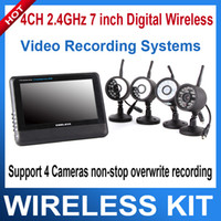 Wholesale 4CH GHz inch Digital Wireless CCTV Security DVR Kit Camera Video recording Systems Support cameras non stop overwrite recording
