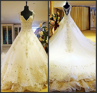Wholesale Real image a line spaghetti straps monarch train rhinestone white lace short sleeve sexy new bridal dresses wedding gowns wedding dresses