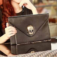 Women skull purses - NEW Women Punk Envelope Clutch Chain Purse ladies Handbag Shoulder PU Leather Skull Bag t5134
