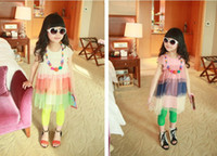 Wholesale summer children dress Korean Bump a color wide colour bar Net yarn round collar Short sleeve girls dresses kids skirt colour
