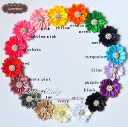 Wholesale Embellishe Satin Flower Headbands Satin Flowers QueenBaby Falt Back Without Hair Clip