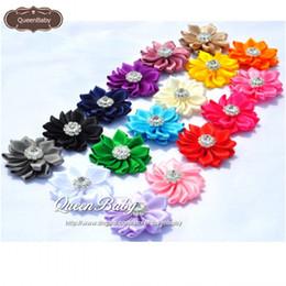 Satin Flower Headbands Matching Rhinestone Hair Accessories Newborn Photography Props Sparking Satin Floral 600PCS lot QueenBaby