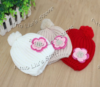 Wholesale Baby Hat Girl s Flower Knitted Hat Knitted Beanies For Kids Children Crochet Hat pieces BH