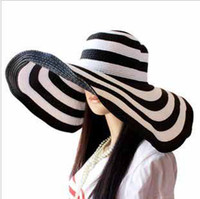 black white strip fashion hat - European fashion Women Classical Stripe Zebra Floppy Straw hat ladies Wide CM Brim Beach Hat girls Sun Cap t5136