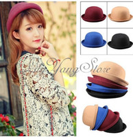 Wholesale Vintage Spring New Unisex Roll Brim Bowler Derby Hats Billycock Cloche Wool Gift