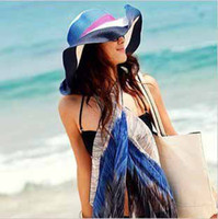 Summer beautiful ladies hats - Beautiful comfortable Summer multicolor stripe wide brim straw hat women lady waterproof beach sun cap t5137