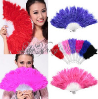 Wholesale Chinese Japanese Elegant Folding Feather Hand Fan Fancy Wedding Show