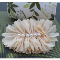 Wholesale Fabric Satin Flower Puff with Pearls ribbon bows colors Rose Orange Yellow Ivory eone