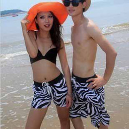Wholesale 2013 European new fashion Lovers couples Mens Womens Zebra Beach Surf Board Swim Shorts comfortable one set t5139