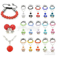 Wholesale Shamballa Set Matching Bracelet Pendant Necklace Earrings Crystal Disco Clay Ball