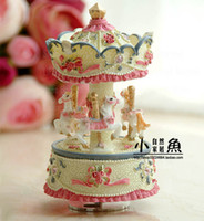 Wholesale Dollarfish birthday gift home decoration wooden horse music box music box of small pink