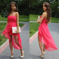 Wholesale Casual Party dresses Red Cocktail gowns Strapless Short front long back Chiffon fabric Open back hi lo Bridesmaid gpwns