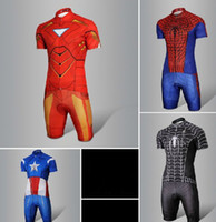 Wholesale Spider Man short sleeved cycling jerseys riding Suit Iron Man cycling clothing to prepare short slee