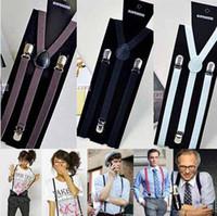 Wholesale Big discount hot Y back Suspenders Clip on Adjustable Unisex Pants women men waistband clips colors Braces Black Elastic t5144