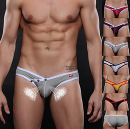 Wholesale Hot Sexy Men s Underwear Breathable Mesh Stretch Briefs Seamless Mesh Stretch Underpants with Rivet Snapper Button Closure in Front W7098